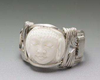 Carved Bone (bovine) Buddha Cameo Sterling Silver Wire Wrapped Ring - Made to Order and Ships Fast!