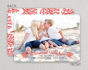 Christmas Photo Card -Red Coral - 2 sided printing!