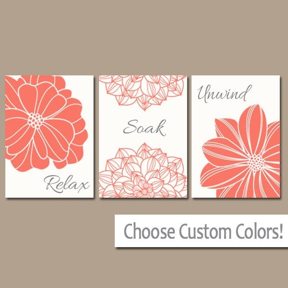 Bathroom decor coral bathroom wall art canvas or print bath for Pink and orange bathroom ideas