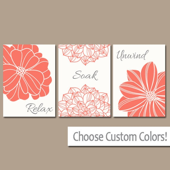 Bathroom Decor Coral BATHROOM Wall Art CANVAS Or Prints CORAL