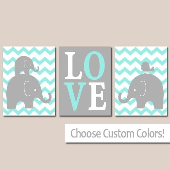 Boy ELEPHANT Nursery Wall Art Canvas Or Prints Baby BOY Elephant
