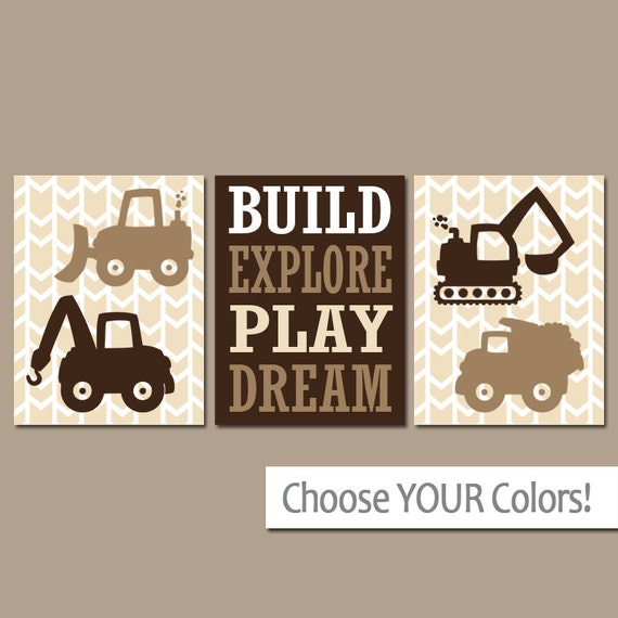 Nursery Wall Decor Transportation : Construction wall art canvas or prints dump truck pictures