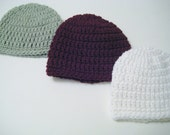 Knit Crochet Baby Boy Hat, Newborn Hat, Hospital Beanie, Baby Boy Gift - Sage, Burgundy, White - Newborn - Toddler, Pick Color - Pick Size