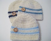 Crochet Knit Baby Boy Hat, Newborn Hat, Baby Shower, Baby Boy Gift, Baby Beanie -  Cream, Blue Baby Beanie - Pick Color & Size!