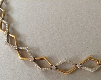 Vintage Panetta Gold Rhinestone Bracelet Mid Century Modern