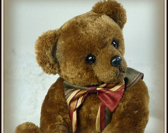 Lars – Artist Teddy Bear, Handmade, Stuffed Animal, Non-Jointed, Shaggy, White, Toy, OOAK, Made In Alaska