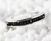 Black Diamond Ring 14k White Gold Wedding Band for Men and Women Personalized Engravings