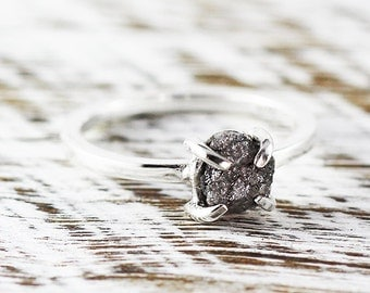 Silver Engagement Ring Uncut Rough Diamond Rings