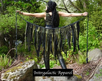 Tattered Pixie Skirt, Intergalactic Apparel Original Interstellar Weave Skirt, Eco Gypsy Skirt, FestiVaL Clothing, OOAK TatteRed Tutu