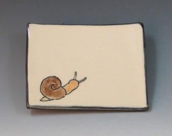 Handbuilt Ceramic Soap Dish with Snail