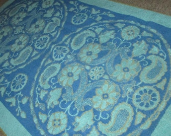 Vintage MOD 60s Two Tone Blue French Provincial Floral Motif Bath Towel by Vanity House
