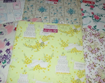 Only 5 Bucks.......Vintage 50s Bridal Shower and Everyday Wrapping Paper Gift Wrap LOT