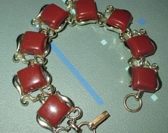 Vintage MOD Cinnamon Brown Lucite Segment Panel Link Bracelet
