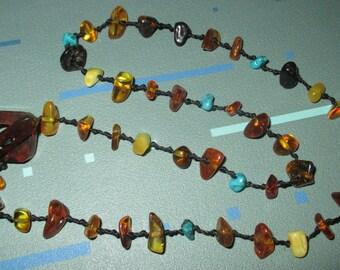 Vintage Unique Amber Butterscotch and Turquoise Bead Necklace