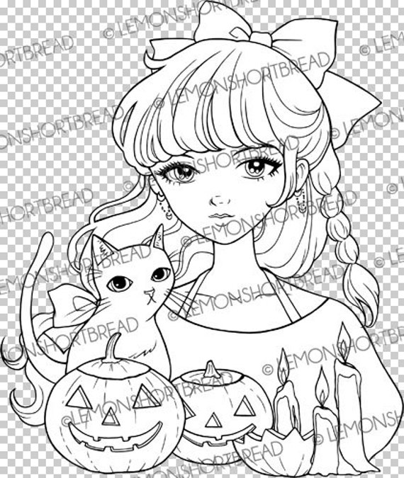 halloween cat girl coloring pages - photo#46