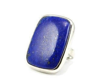 Big lapis Lazuli ring 925 silver mount, solid silver and natural lapis stone