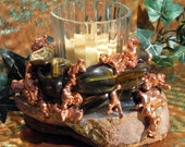 Stone Candleholder with Tiger's Eye, Copper & Agate, Metaphysical, Home Decor