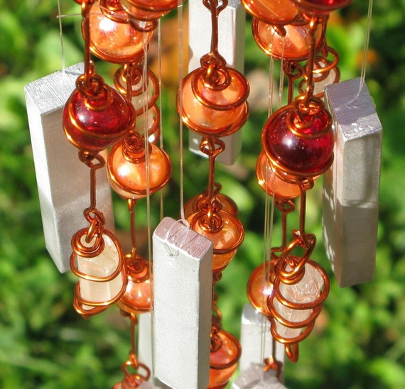 Garden Art Windchime with Tangerine Quartz, Recycled Aluminum and Copper Wrapped Ruby Red & Iridescent Orange Cat's Eye Glass Marbles