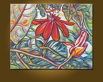 Passion Flowers II -- 16 x 20 inch painting by Elizabeth Graf on Etsy, Art Collectibles Art Painting