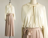 70s Vintage Cream And Mauve Boho Peasant Top Day Dress / Size Small / Medium