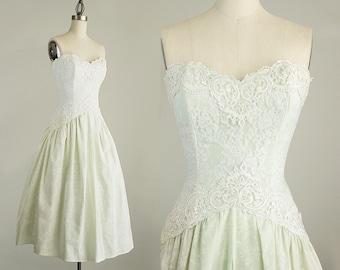 90s Vintage Scott McClinktock Cotton Pale Mint Green Floral Lace Strapless Dress / Rosette Bustle Ruffles / Size Small