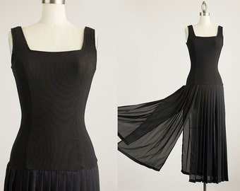 90s Vintage Black Chiffon Body Con Multi Slit Fringe Hem Dress / Size Extra Small / Small