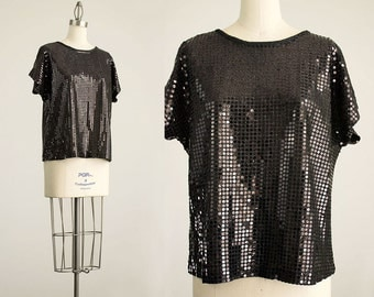 90s Vintage Black Sequin Paillette Box Top / Size Small / Medium