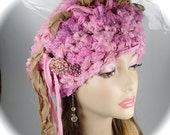 Silk Sari ribbon hat, Crocheted Hat, pink fuzzy ribbon hat, ribbon hat, beanie hat, tam hat