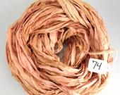 Sari Silk Ribbon, Recycled Silk Sari Ribbon, orange Ribbon, peach sari ribbon