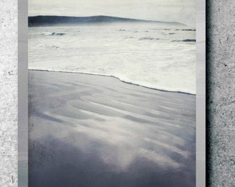 "Beach photography serene misty beach black gray minimal wall art  ""Grays and Mist"""