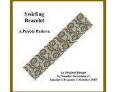 Peyote Beading Pattern, 3 Drop Odd Count Peyote Stitch, Bracelet Pattern  / Swirling Bracelet / Off Loom Pattern. Instant Download PDF