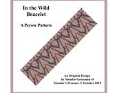 Peyote Bracelet Beading Pattern, 2 Drop Odd Count Peyote Stitch / In the Wild Bracelet / Off Loom Abstract Pattern Instant Download PDF