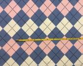 "Cotton poly lycra rib knit 48"" wide Pink and Blue Argyle BIG 1 yard"