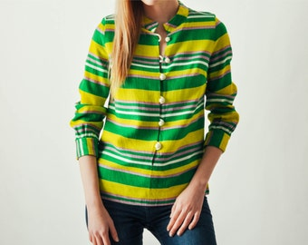Vintage Lime Green Striped Top