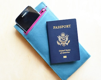 Womens Leather Travel Document Wallet, Classic Leather Travel Wallet, Passport Wallet and Holder for Women - The Stella in Pacific Blue