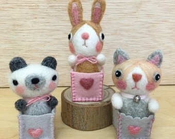 Needle Felted Honey Bunny, Bear, Cat Doll in a Wee Box, Handmade by Val's Art Studio, Cute Animal Needle Felt Art, Miniature Felt Doll