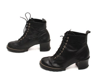 size 5.5 PLATFORM black leather 80s 90s COMBAT lace up high heel GRUNGE ankle boots