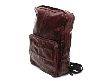 BOHEMIAN burgundy red leather 70s 80s BACKPACK unisex briefcase GRUNGE knapsack
