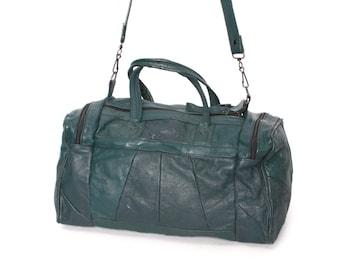 DUFFEL dark green leather 70s 80s TRAVEL overnight WEEKEND bag