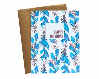 HAPPY BIRTHDAY Greeting Card Blue Foliage Wallpaper - Single Card