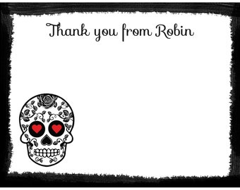 20 Personalized Thank You Cards  - Sugar Skulls Design - Day Of The Dead - Skull Bridal Shower