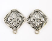 Antique Silver Earring Findings Earring Post with Loop has Fleur de Lis Center with Black Rope Motif Border |S2-13|2