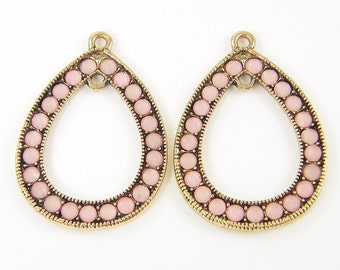 Pink Earring Findings Teardrop Antique Gold Rhinestone Drop Jewelry Components |P4-1|2
