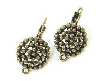 Antique Brass Lever Back Earwires Earring Findings Beaded Granulated Jewelry Supply |AN6-13|2