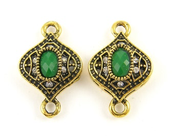 Green Antique Gold Jewelry Connector with Clear Rhinestone Double Loop Drop Lantern Shape Finding Earrings Bracelets Pendants  GR4-9 2 XD