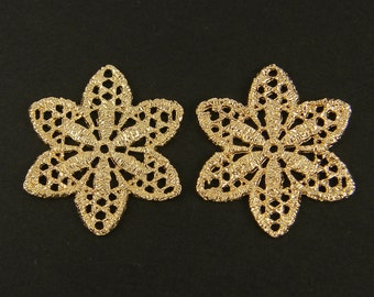 Lace Earring Findings Gold Filigree Flower Jewelry Connector Lacy Pendant |G2-2|2