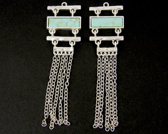 Silver Fringe Earring Finding Silver Aqua Chain Dangle Asian Pagoda Pendant Tassel |B3-1|2