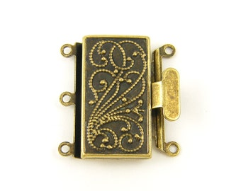 Three 3 Strand Antique Brass Box Clasp |AN4-2|1