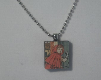 Little Red Riding Hood scrabble tile resin necklace
