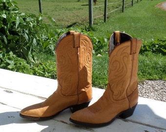 Vintage Deer Skin Cowboy Boots,Laredo,Tan,Size 10,Western